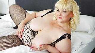 busty blonde BBW mature masturbation