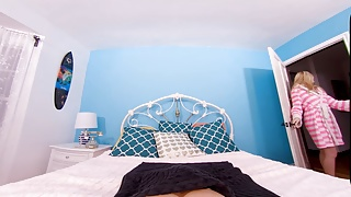 Girls in bed porn Babevr sneaking into the bed of blonde teen gf bailey rayne
