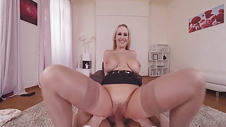 Naughty VR sex therapist Angel Wicky sucks & rides your cock