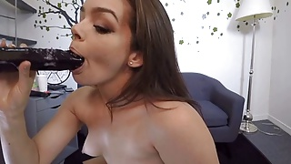 Girl fucks dildo on wood - Vr - kimber woods uses black dildo in knee socks and chucks